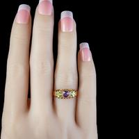 Antique Suffragette Ring Amethyst Peridot Diamond 15ct Gold c.1910 (3 of 5)