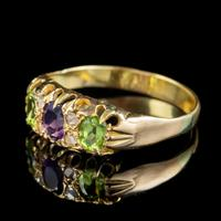 Antique Suffragette Ring Amethyst Peridot Diamond 15ct Gold c.1910 (4 of 5)