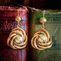 Antique Victorian Lovers Knot Drop Earrings 18ct Gold c.1890 (2 of 5)