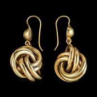 Antique Victorian Lovers Knot Drop Earrings 18ct Gold c.1890 (3 of 5)
