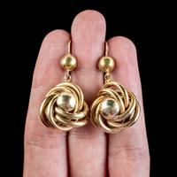 Antique Victorian Lovers Knot Drop Earrings 18ct Gold c.1890 (4 of 5)