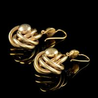 Antique Victorian Lovers Knot Drop Earrings 18ct Gold c.1890 (5 of 5)