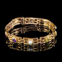 Antique Suffragette Gate Bracelet Peridot Pearl Amethyst 9ct Gold c.1915