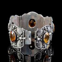 Victorian Celtic Citrine Cuff Bracelet Silver 50ct Citrines c.1870 (2 of 6)