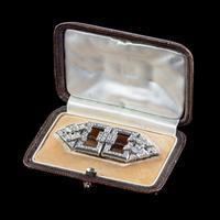 Art Deco French Diamond Double Clip Brooch 18ct Gold 3ct Diamonds Boxed c.1930 (3 of 9)