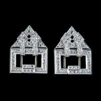 Art Deco French Diamond Double Clip Brooch 18ct Gold 3ct Diamonds Boxed c.1930 (6 of 9)