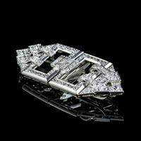 Art Deco French Diamond Double Clip Brooch 18ct Gold 3ct Diamonds Boxed c.1930 (9 of 9)