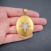 Antique Victorian Diamond Star Locket 18ct Gold 1.30ct Old Cut Diamonds c.1900 (4 of 6)