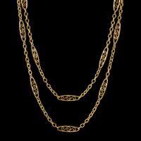 Antique French Sautoir Chain Silver 18ct Gold Gilt c.1900