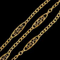 Antique French Sautoir Chain Silver 18ct Gold Gilt c.1900 (3 of 5)