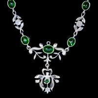 Antique Edwardian Green Paste Lavaliere Necklace Sterling Silver c.1905 (2 of 8)