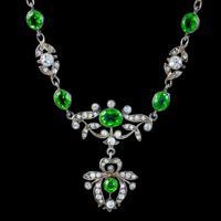 Antique Edwardian Green Paste Lavaliere Necklace Sterling Silver c.1905