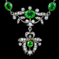 Antique Edwardian Green Paste Lavaliere Necklace Sterling Silver c.1905 (6 of 8)