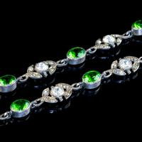Antique Edwardian Green Paste Lavaliere Necklace Sterling Silver c.1905 (7 of 8)