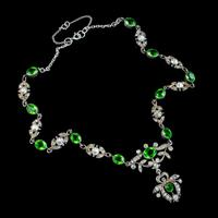 Antique Edwardian Green Paste Lavaliere Necklace Sterling Silver c.1905 (8 of 8)