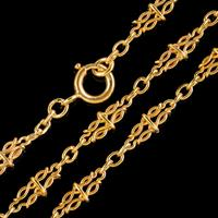 Antique French Long Sautoir Chain Silver 18ct Gold Gilt c.1900 (3 of 5)