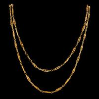 Antique French Long Sautoir Chain Silver 18ct Gold Gilt c.1900 (4 of 5)