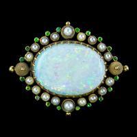 Antique Victorian Natural Opal Green Garnet Pearl Brooch 15ct Gold 25ct Opal c.1890