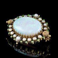 Antique Victorian Natural Opal Green Garnet Pearl Brooch 15ct Gold 25ct Opal c.1890 (4 of 5)