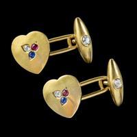 Antique Heart Cufflinks Ruby Sapphire Diamond 18ct Gold Garrard Box c.1890