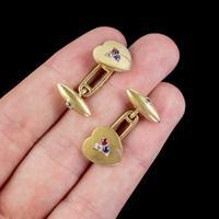 Antique Heart Cufflinks Ruby Sapphire Diamond 18ct Gold Garrard Box c.1890 (4 of 6)
