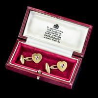 Antique Heart Cufflinks Ruby Sapphire Diamond 18ct Gold Garrard Box c.1890 (6 of 6)