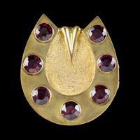 Antique Victorian Garnet Horseshoe Locket Brooch 18ct Gold Gilt 7ct Garnets c.1890