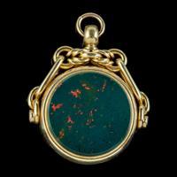 Antique Victorian Fob Pendant Jasper Carnelian 18ct Gold c.1880