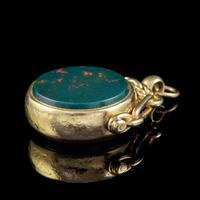 Antique Victorian Fob Pendant Jasper Carnelian 18ct Gold c.1880 (5 of 6)