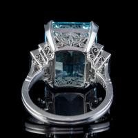 Art Deco Aquamarine Diamond Ring Platinum 13.17ct Emerald Cut Aqua c.1920 (2 of 6)