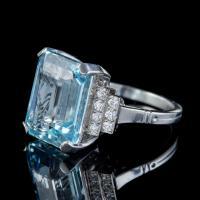 Art Deco Aquamarine Diamond Ring Platinum 13.17ct Emerald Cut Aqua c.1920 (4 of 6)