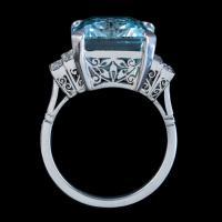 Art Deco Aquamarine Diamond Ring Platinum 13.17ct Emerald Cut Aqua c.1920 (6 of 6)