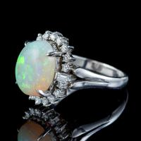 Vintage Opal Diamond Ring Platinum 6ct Natural Opal c.1960 (5 of 7)