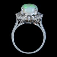Vintage Opal Diamond Ring Platinum 6ct Natural Opal c.1960 (7 of 7)