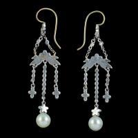Antique Pearl Paste Chandelier Earrings Silver c.1915 (2 of 4)
