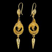 Antique Victorian 18ct Gold Drop Earrings c.1890 (2 of 5)