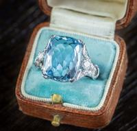 Vintage Aquamarine Diamond Ring Platinum 8ct Briolette Cut Aqua (2 of 7)