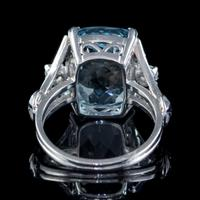 Vintage Aquamarine Diamond Ring Platinum 8ct Briolette Cut Aqua (3 of 7)