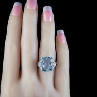 Vintage Aquamarine Diamond Ring Platinum 8ct Briolette Cut Aqua (4 of 7)