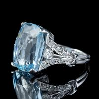 Vintage Aquamarine Diamond Ring Platinum 8ct Briolette Cut Aqua (6 of 7)