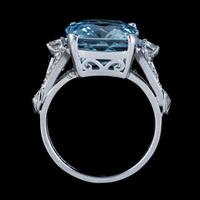 Vintage Aquamarine Diamond Ring Platinum 8ct Briolette Cut Aqua (7 of 7)
