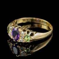 Antique Edwardian Suffragette Ring 18ct Gold Amethyst Diamond Peridot Dated 1903 (5 of 6)