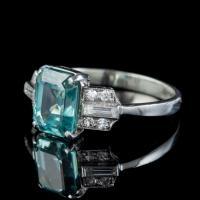 Art Deco Blue Zircon Diamond Ring Platinum 2.80ct Emerald Cut Zircon c.1920 (5 of 5)