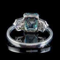 Art Deco Blue Zircon Diamond Ring Platinum 2.80ct Emerald Cut Zircon c.1920 (3 of 5)
