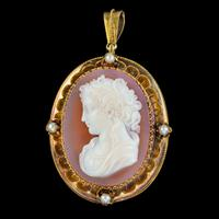 Antique Victorian Hardstone Cameo Pearl Brooch Pendant 18ct Gold c.1860