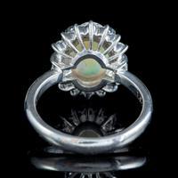 Vintage Opal Diamond Cluster Ring Platinum 1.91ct Natural Opal c.1960 (4 of 6)