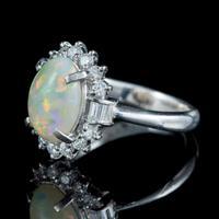 Vintage Opal Diamond Cluster Ring Platinum 1.91ct Natural Opal c.1960 (6 of 6)