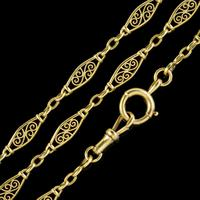 Antique French Long Guard Chain 18ct Yellow Gold c.1910 (4 of 5)
