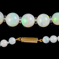 Vintage Natural Opal Crystal Beaded Necklace 18ct Gold Clasp (4 of 8)