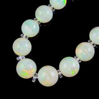 Vintage Natural Opal Crystal Beaded Necklace 18ct Gold Clasp (3 of 8)
